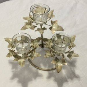 3 Votive Candle Holder Leaf Tea Lite Decor